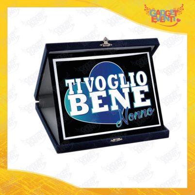 """Targa Decorativa Nera """"Ti Voglio Bene Nonno"""" grafica azzurra Idea Regalo Festa dei Nonni Gadget Eventi"""