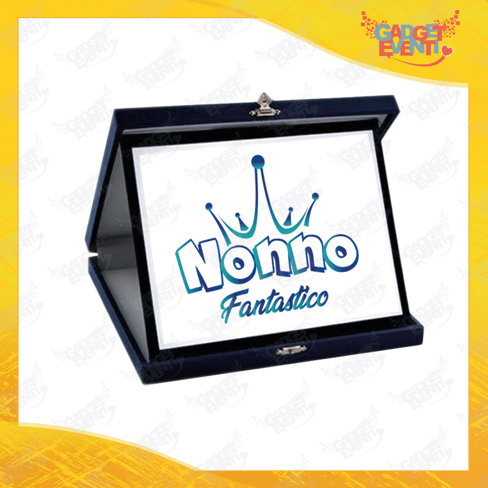 """Targa Decorativa Bianca """"Nonni Fantastici"""" grafica azzurra Idea Regalo Festa dei Nonni Gadget Eventi"""