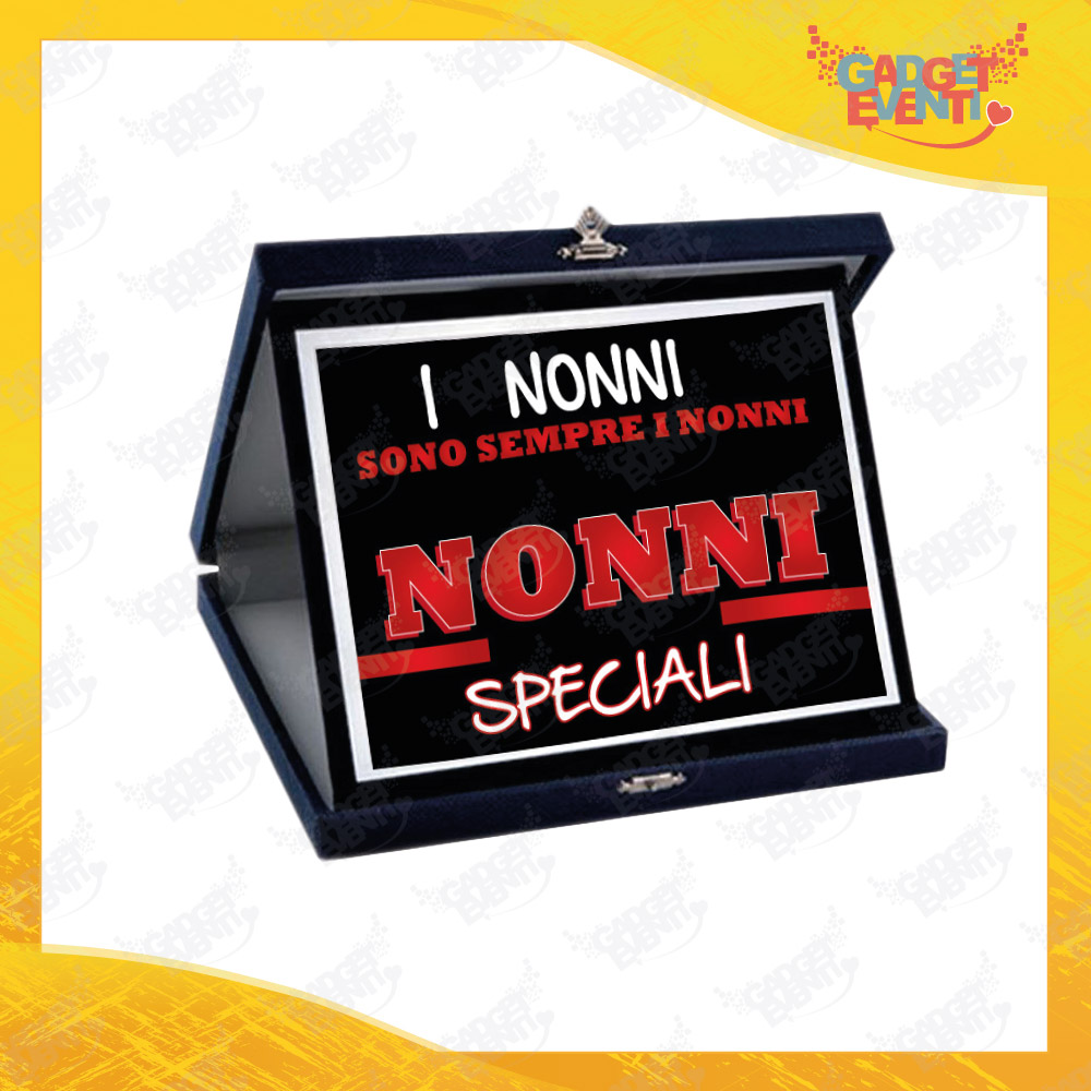 """Targa Decorativa """"Nonni Speciali"""" grafica Rossa Idea Regalo Festa dei Nonni Gadget Eventi"""