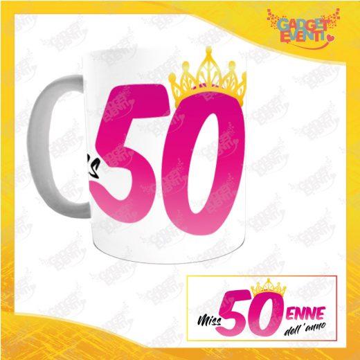 """Tazza Personalizzata """"Miss Corona Cinquantenne"""" Mug per Compleanni Regalo Tazze Originali per Feste di Compleanno Gadget Eventi"""