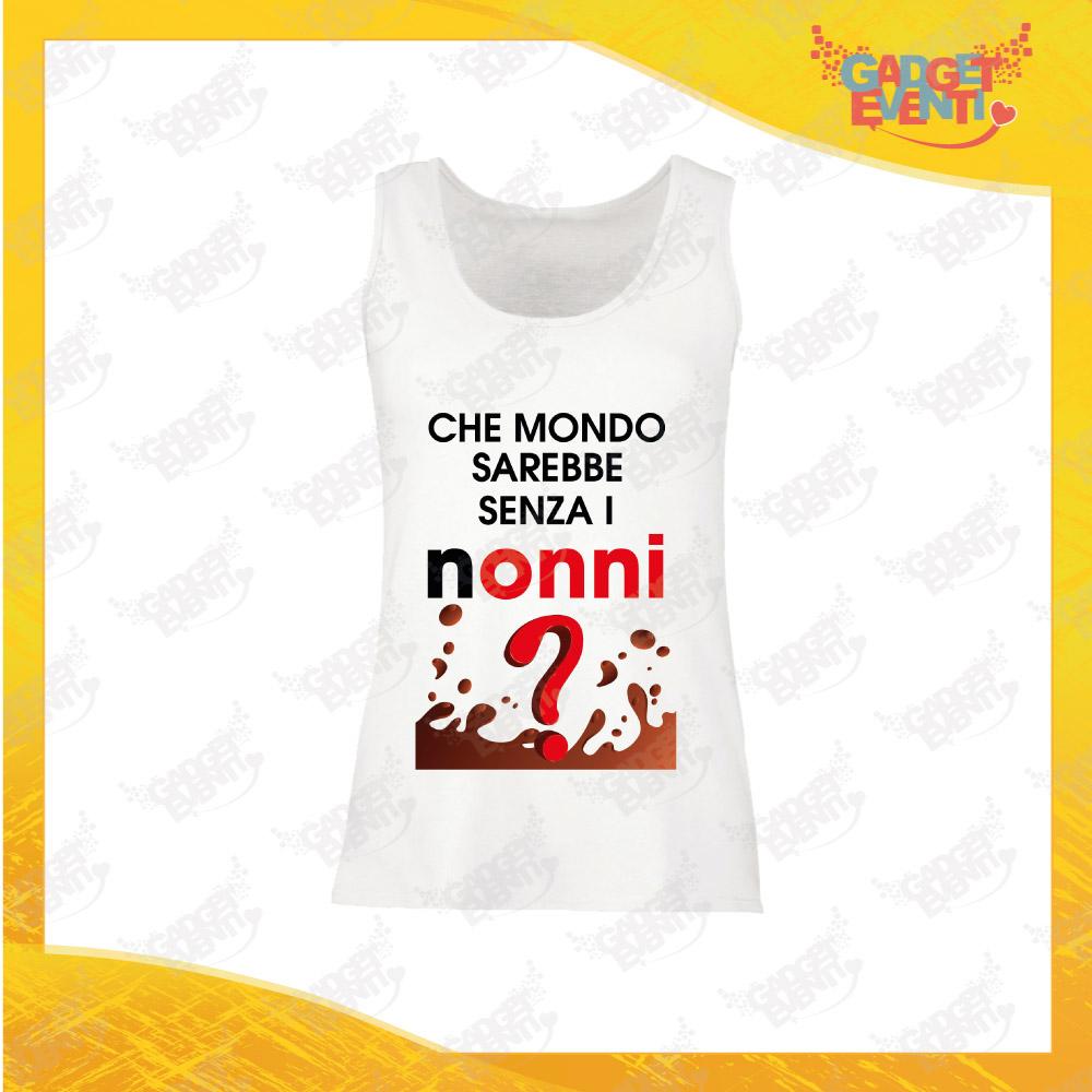 """Canotta Donna Bianca """"Che Mondo Senza Nonni"""" Top Maglietta per l'estate Smanicato Festa dei Nonni Gadget Eventi"""