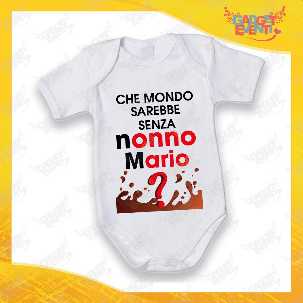 """Body Neonato Bodino Bimbo Manica Corta """"Che Mondo Senza Nonno con Nome"""" Gadget Eventi"""