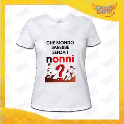 """Maglietta Donna Bianca """"Che Mondo senza Nonni"""" Idea Regalo Nonna T-Shirt Festa dei Nonni Gadget Eventi"""