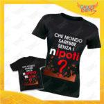 """Coppia di T-Shirt Donna Bimbo Nere """"Che Mondo Sarebbe senza Nonna con Nome"""" Magliette Grafiche divertenti per Nonno Nonna e Nipote Gadget Eventi"""