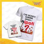 """Coppia di T-Shirt Uomo Bimbo Bianche """"Che Mondo Sarebbe senza Nonno con Nome"""" Magliette Grafiche divertenti per Nonno Nonna e Nipote Gadget Eventi"""