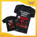 """Coppia di T-Shirt Uomo Bimbo Nere """"Che Mondo Sarebbe senza Nonno con Nome"""" Magliette Grafiche divertenti per Nonno Nonna e Nipote Gadget Eventi"""