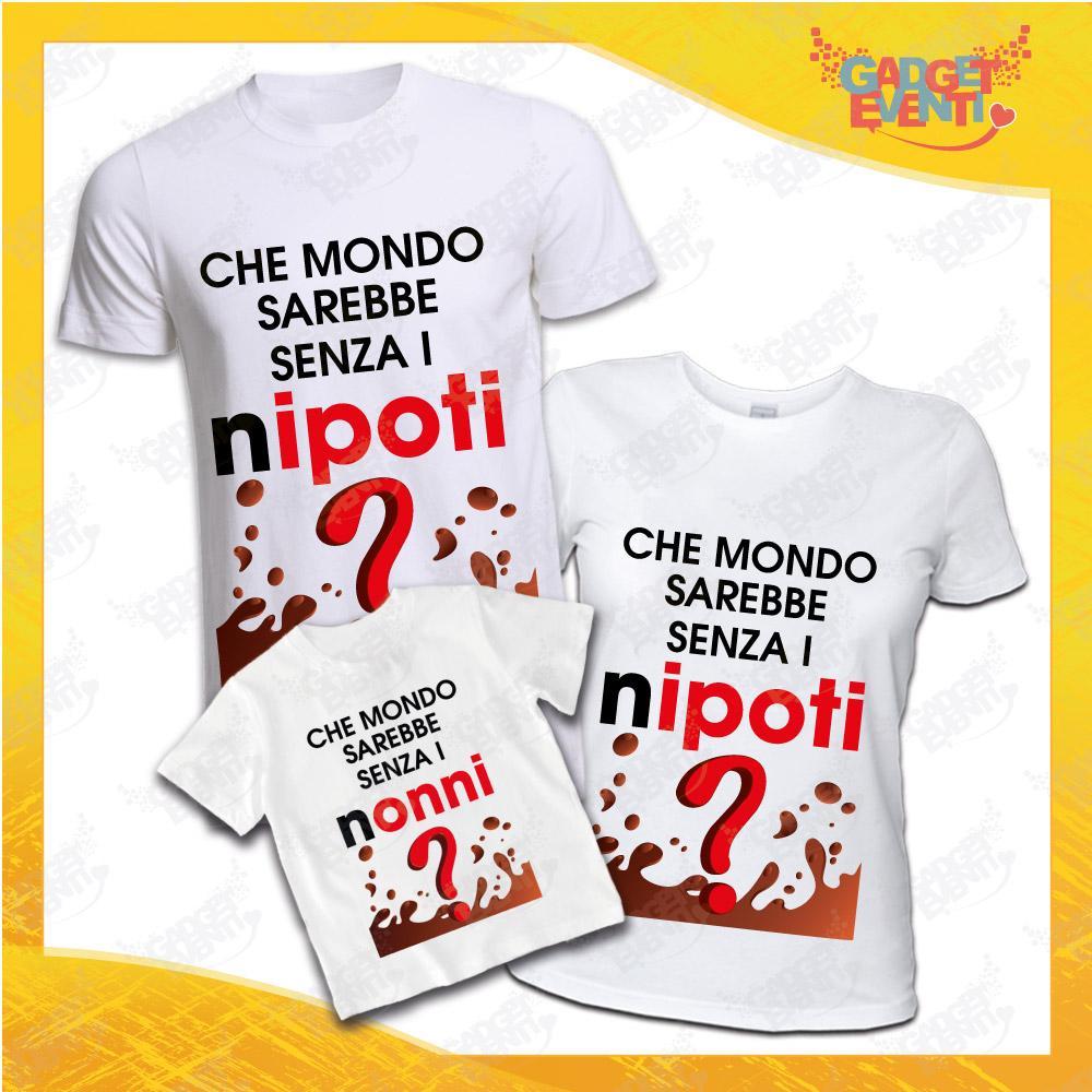 """Tris di T-Shirt Bianche """"Che Mondo Sarebbe Senza Nonni"""" Magliette per Tutta la Famiglia Completo di Maglie Nonno Nonna Nipote Idea Regalo Gadget Eventi"""