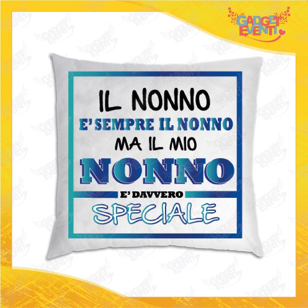 """Cuscino Quadrato Divano Letto Poltrona """"Nonno/a Speciale"""" grafica azzurra Idea Regalo per Festa dei Nonni Gadget Eventi"""