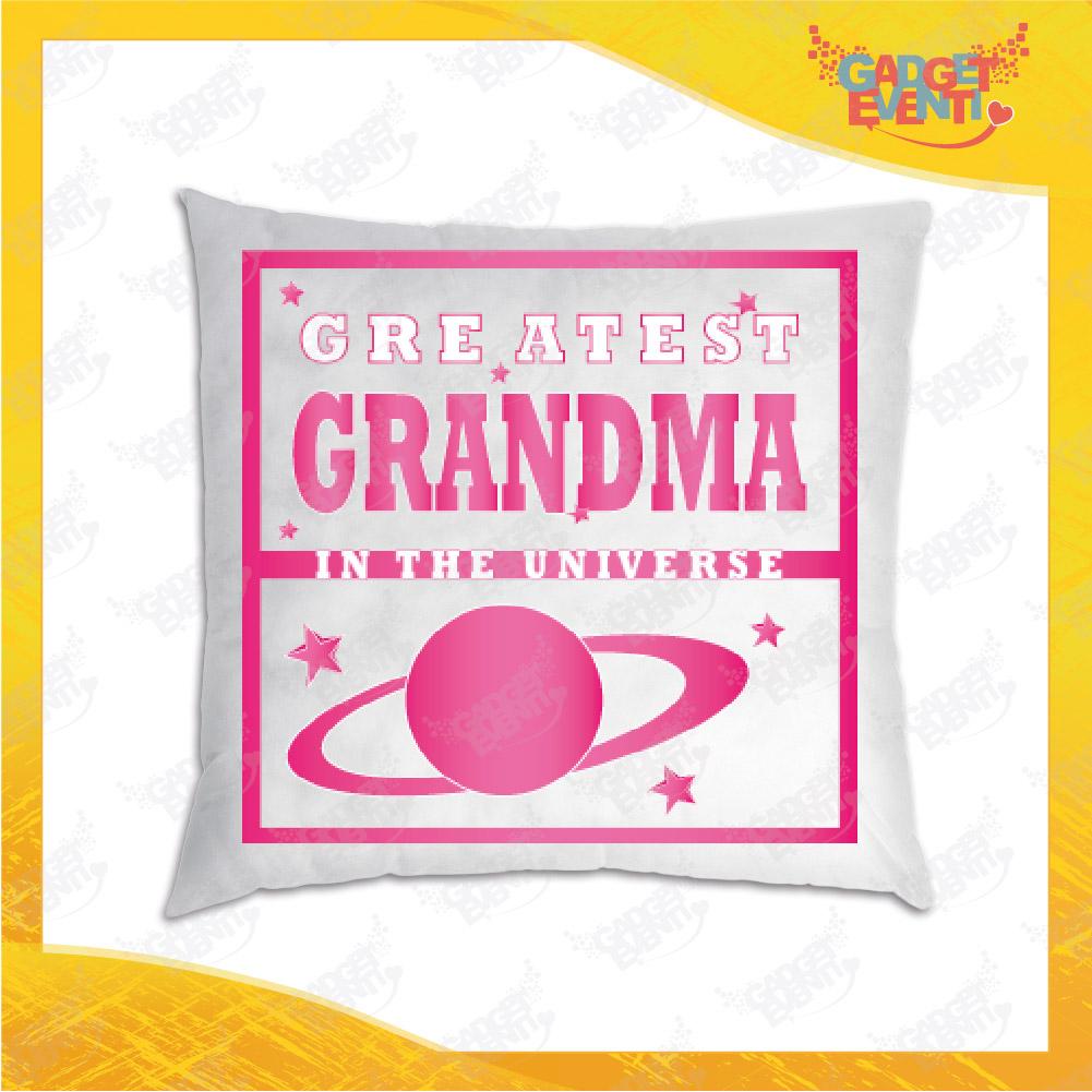 """Cuscino Quadrato Divano Letto Poltrona """"Greatest Grandma"""" grafica Nonna Idea Regalo per Festa dei Nonni Gadget Eventi"""