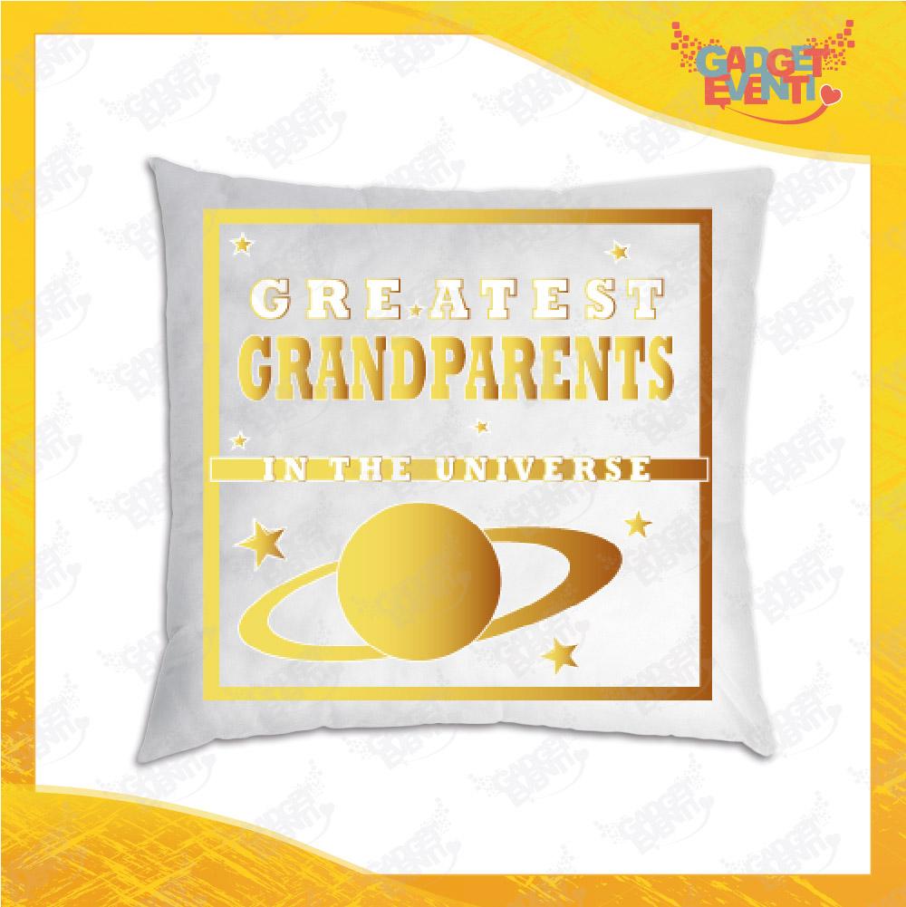 """Cuscino Quadrato Divano Letto Poltrona """"Greatest Grandparents"""" grafica oro Idea Regalo per Festa dei Nonni Gadget Eventi"""