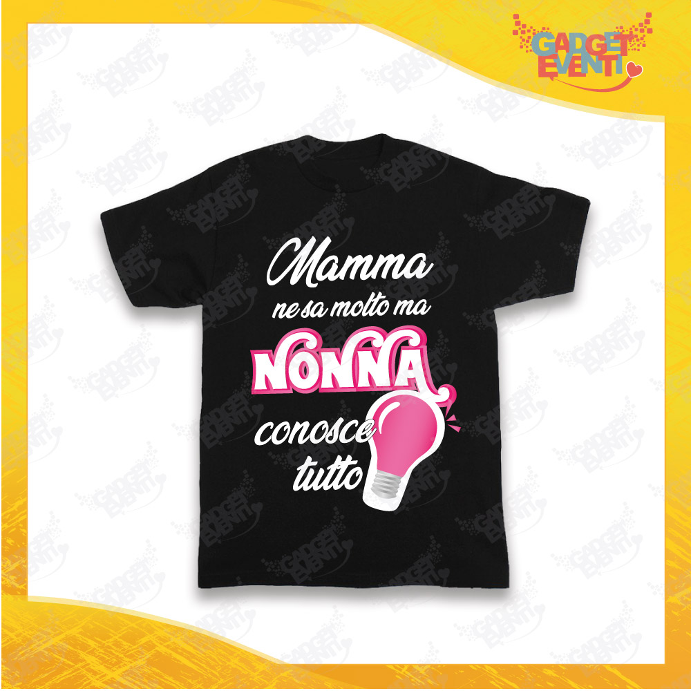 """Maglietta Nera Bimba """"Nonna Conosce Tutto"""" Grafica Fucsia Idea Regalo T-Shirt Festa dei Nonni Gadget Eventi"""