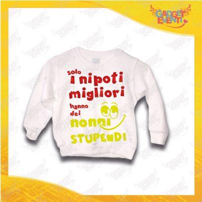 """Felpa Bianca Bimbo """"Nonni Stupendi"""" grafica rossa Idea Regalo Maglione per l'inverno Festa dei Nonni Gadget Eventi"""