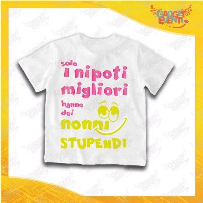 """Maglietta Bianca Bimbo """"Nonni Stupendi"""" Grafica Rosa Idea Regalo T-Shirt Festa dei Nonni Gadget Eventi"""