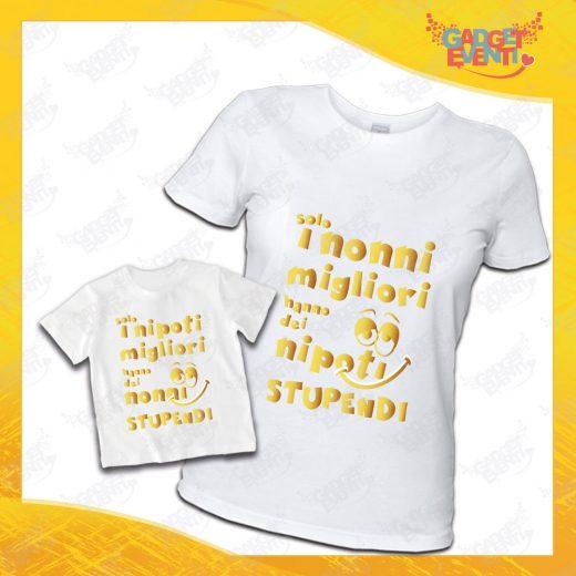 """Coppia di T-Shirt Donna Bimbo Bianche """"Nipoti Stupendi Per Nonna"""" grafica oro Magliette divertenti per Nonna e Nipote Gadget Eventi"""