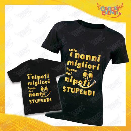 """Coppia di T-Shirt Donna Bimbo Nere """"Nipoti Stupendi Per Nonna"""" grafica oro Magliette divertenti per Nonna e Nipote Gadget Eventi"""