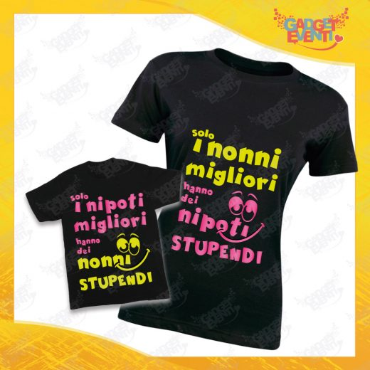 """Coppia di T-Shirt Donna Bimbo Nere """"Nipoti Stupendi Per Nonna"""" grafica rosa Magliette divertenti per Nonna e Nipote Gadget Eventi"""