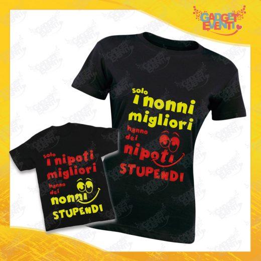 """Coppia di T-Shirt Donna Bimbo Nere """"Nipoti Stupendi Per Nonna"""" grafica rossa Magliette divertenti per Nonna e Nipote Gadget Eventi"""