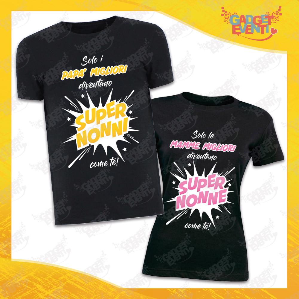 """Coppia Maglietta Uomo Donna Nera """"Super Nonni"""" Idea Regalo T-Shirt Festa dei Nonni Gadget Eventi"""