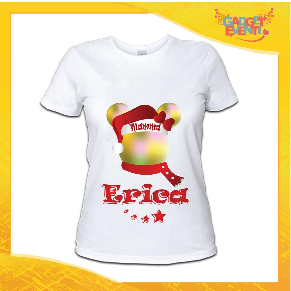 """T-Shirt Donna Natalizia Bianca """"Topolino Natale Con Nome"""" grafica Multicolore Maglietta per l'inverno Maglia Natalizia Idea Regalo Gadget Eventi"""
