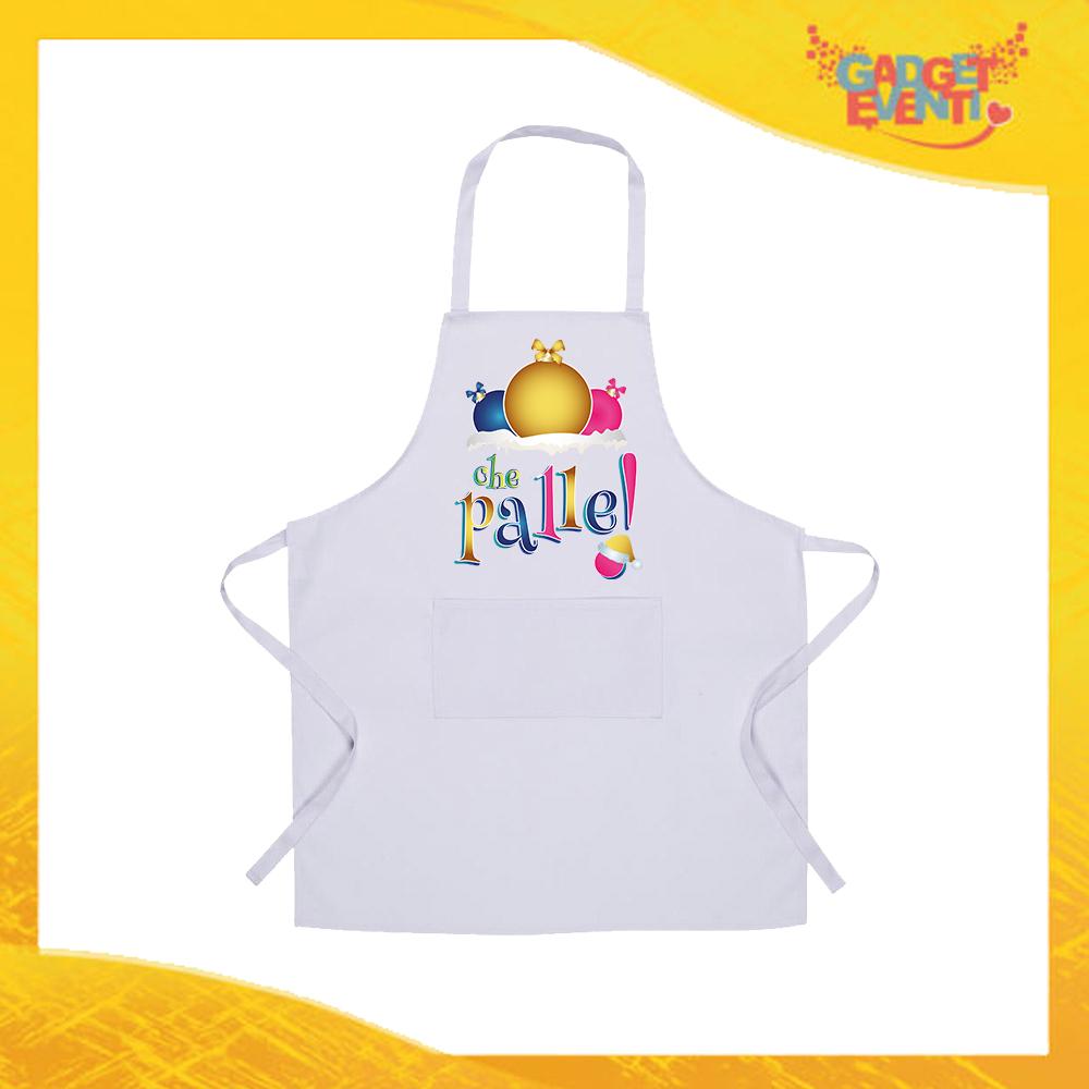 """Grembiule Bianco da Cucina Natalizio """"Che Palle"""" grafica Multicolore Ristorazione Idea Regalo per settore alimentare Gadget Eventi"""