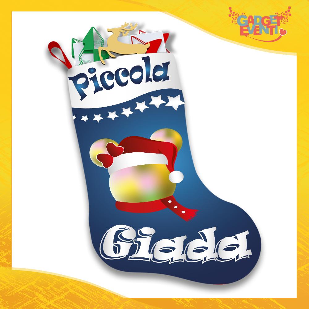 """Calza Natalizia Per Bimbo Bimba Addobbo Personalizzata """"Topolino Natale Con Nome"""" grafica Blu Gadget Eventi"""