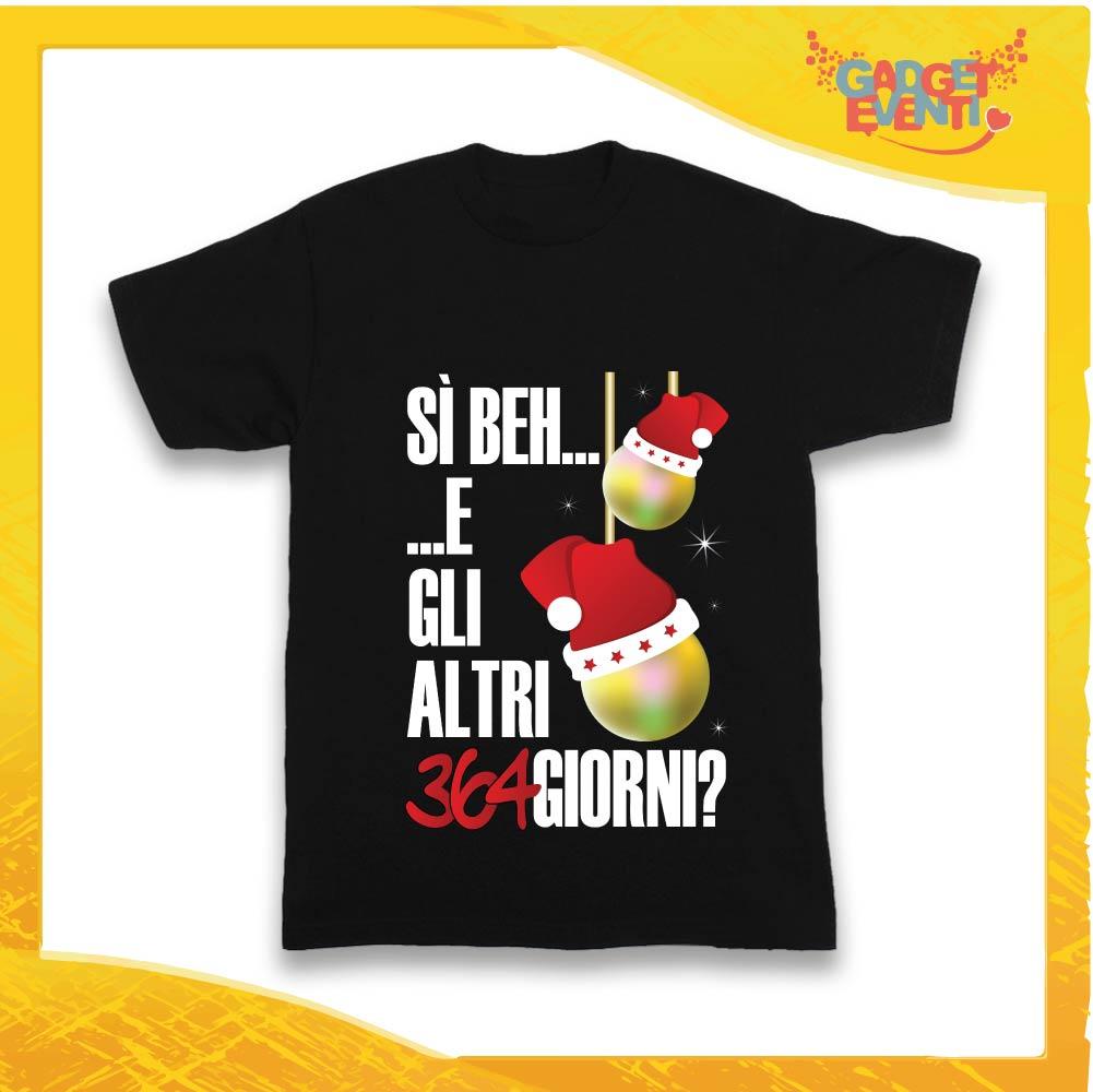 """T-Shirt Bimbo Nera Maglietta """"Gli Altri 364 Giorni?"""" grafica Bianca Gadget Eventi"""