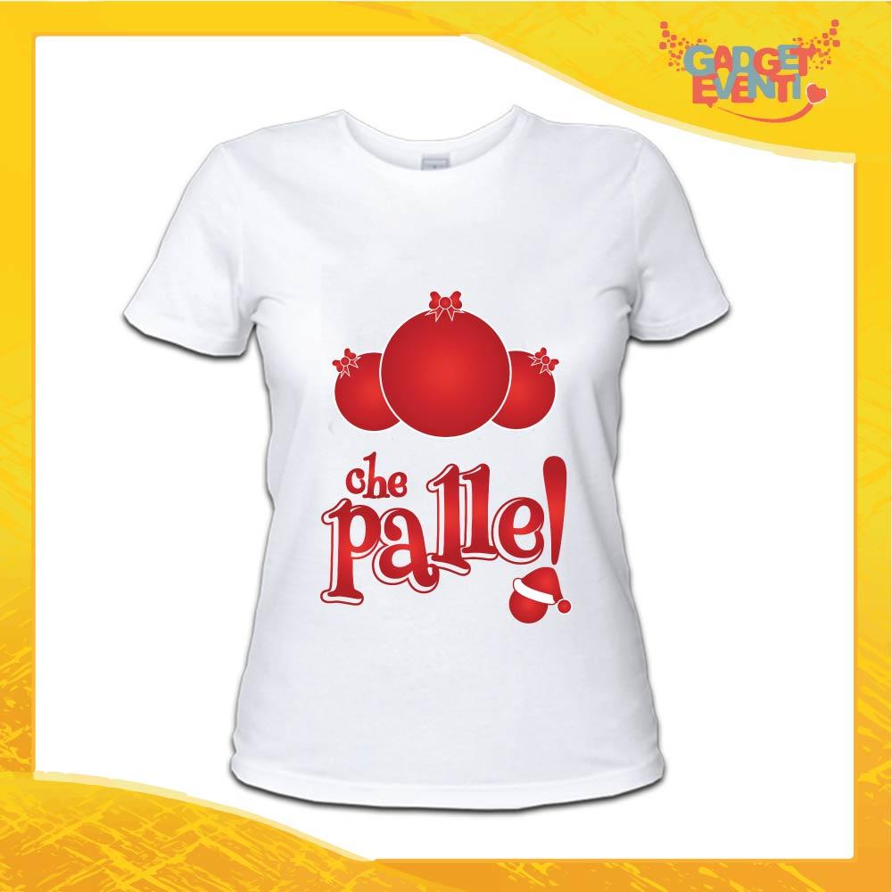 """T-Shirt Donna Natalizia Bianca """"Che Palle"""" grafica Rossa Maglietta per l'inverno Maglia Natalizia Idea Regalo Gadget Eventi"""