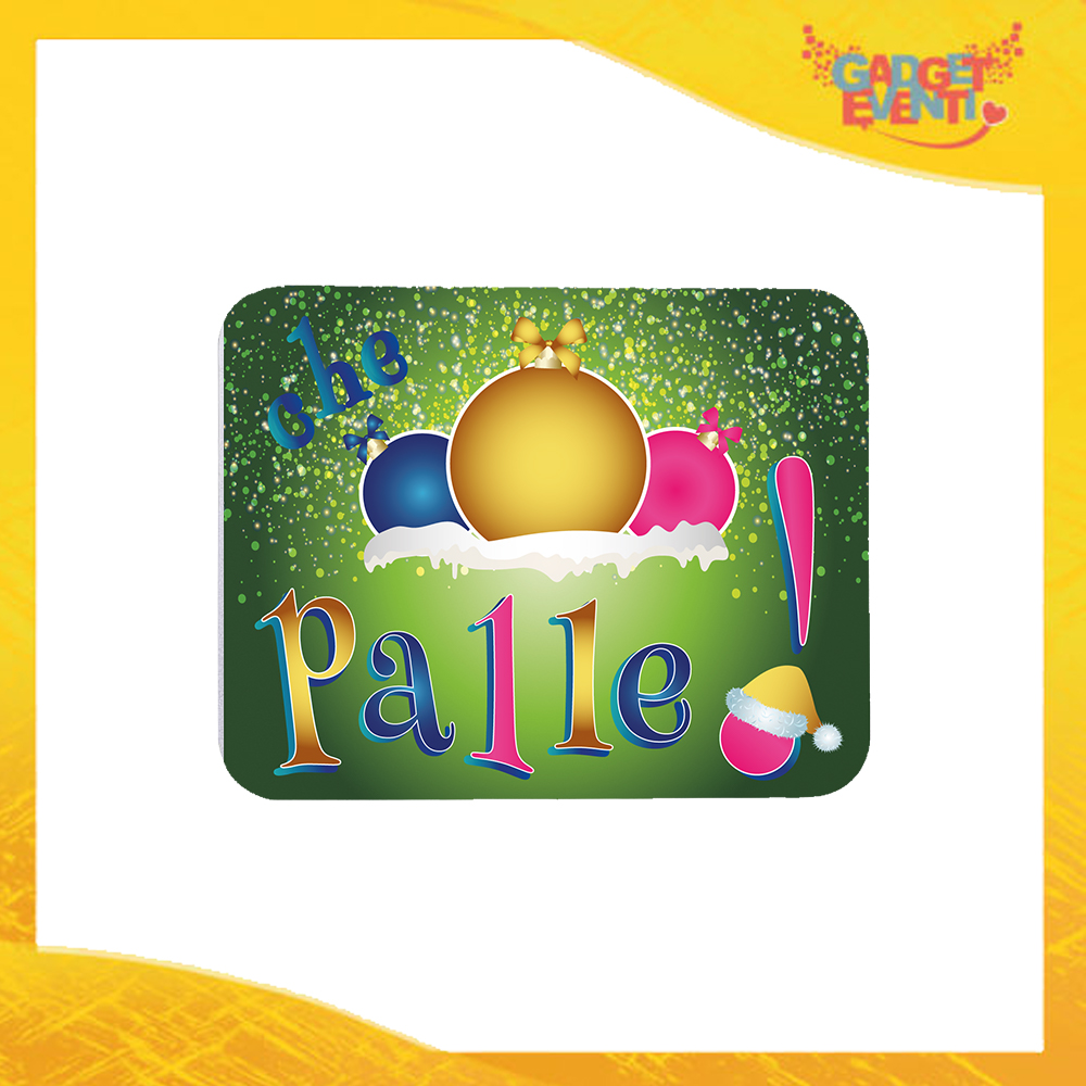 """Mouse Pad Rettangolare Natalizio Grafica Multicolore """"Che Palle"""" tappetino pc ufficio idea regalo festa di Natale gadget eventi"""