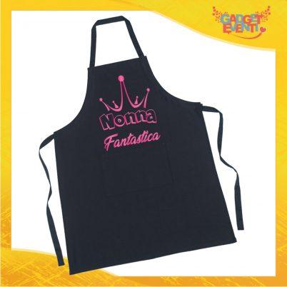 """Grembiule da Cucina Nero """"Nonna Fantastica"""" grafica rosa Ristorazione Idea Regalo per settore alimentare Gadget Eventi"""