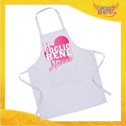 """Grembiule da Cucina Bianco """"Ti Voglio Bene Nonna"""" grafica rosa Ristorazione Idea Regalo per settore alimentare Gadget Eventi"""
