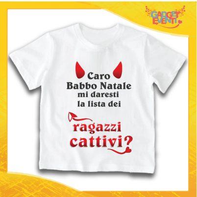 "T-Shirt Bimba Bianca Maglietta ""Lista dei Ragazzi Cattivi"" grafica Nera Gadget Eventi"