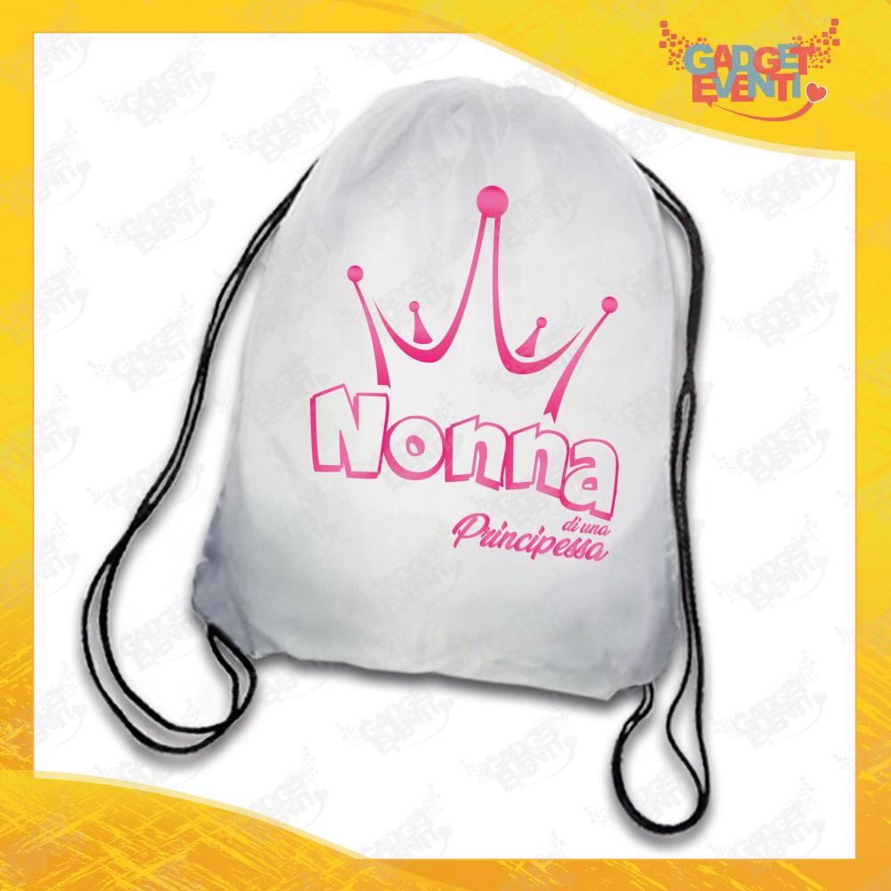 """Sacca Sport Nonna Personalizzata """"Nonna di una Principessa"""" grafica rosa Idea Regalo Gadget Eventi"""