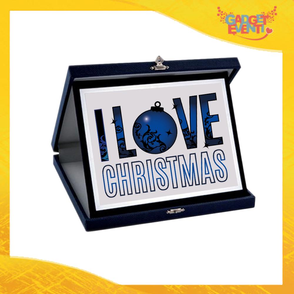 """Targa Natalizia Personalizzata Grafica Blu """"I Love Christmas"""". Cofanetto Decorativo Idea Regalo Festa di Natale Gadget Eventi"""