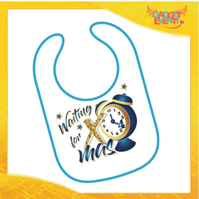 """Bavetto Natalizio Personalizzato Grafica Blu """"Waiting For Xmas"""" Bavaglino Bimbo bordo azzurro Idea Regalo Originale per Natale Bimbi Bambini Neonati Gadget Eventi"""