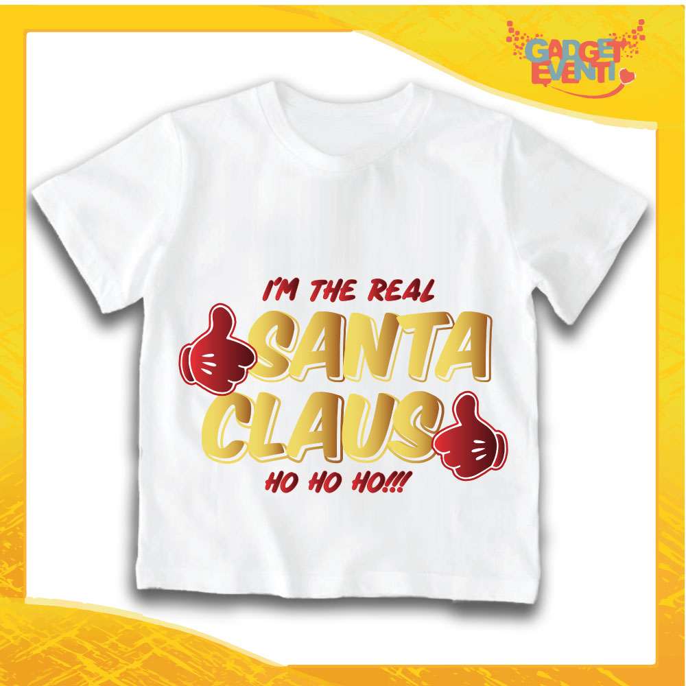 "T-Shirt Bimbo Bianca Maglietta ""Real Santa Claus"" grafica Oro Gadget Eventi"