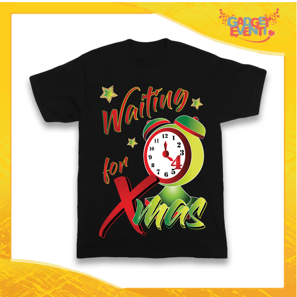 "T-Shirt Bimbo Nera Maglietta ""Waiting For Xmas"" grafica Verde Gadget Eventi"