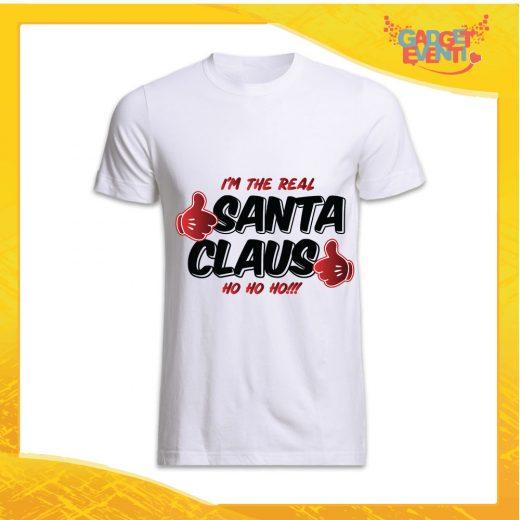 """T-Shirt Uomo Natalizia Bianca """"Real Santa Claus"""" grafica Nera Maglietta per l'inverno Maglia Natalizia Idea Regalo Gadget Eventi"""
