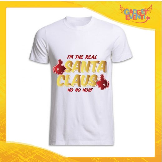 """T-Shirt Uomo Natalizia Bianca """"Real Santa Claus"""" grafica Oro Maglietta per l'inverno Maglia Natalizia Idea Regalo Gadget Eventi"""