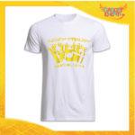 """T-Shirt Uomo Natalizia Bianca """"Disturbo Compulsivo Regali"""" grafica Oro Maglietta per l'inverno Maglia Natalizia Idea Regalo Gadget Eventi"""