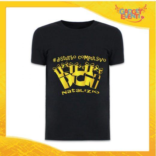 """T-Shirt Uomo Natalizia Nera """"Disturbo Compulsivo Regali"""" grafica Oro Maglietta per l'inverno Maglia Natalizia Idea Regalo Gadget Eventi"""