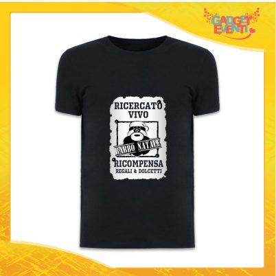 """T-Shirt Uomo Natalizia Nera """"Babbo Natale Ricercato"""" grafica Argento Maglietta per l'inverno Maglia Natalizia Idea Regalo Gadget Eventi"""