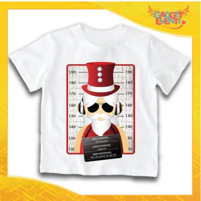 """T-Shirt Bimbo Bianca Maglietta """"Fotosegnaletica Babbo Natale"""" grafica Rossa Gadget Eventi"""