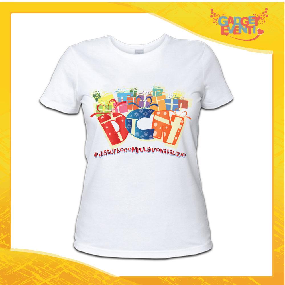 """T-Shirt Donna Natalizia Bianca """"Disturbo Compulsivo Regali"""" grafica Multicolore Maglietta per l'inverno Maglia Natalizia Idea Regalo Gadget Eventi"""