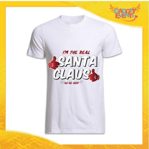 """T-Shirt Uomo Natalizia Bianca """"Real Santa Claus"""" grafica Argento Maglietta per l'inverno Maglia Natalizia Idea Regalo Gadget Eventi"""