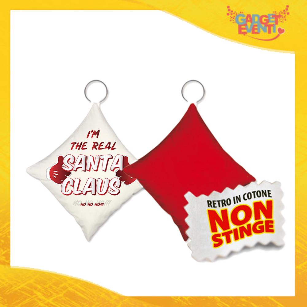 """Mini Cuscino Natalizio Personalizzato Retro Rosso """"Real Santa Claus"""" Mini Federa Natalizia Idea Regalo Gadget Eventi"""