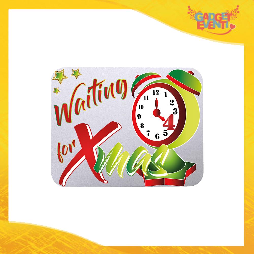"""Mouse Pad Rettangolare Natalizio Grafica Bianca """"Waiting For Xmas"""" tappetino pc ufficio idea regalo festa di Natale gadget eventi"""