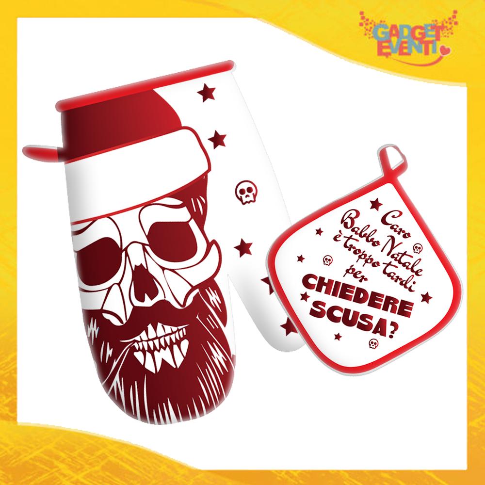 """Guanto + Presina da Forno Natalizi Bordo Rossa """"Caro Babbo Natale..."""" Anti Scottatura Idea Regalo per Cuochi per la Casa e la Ristorazione festa di Natale Gadget Eventi"""