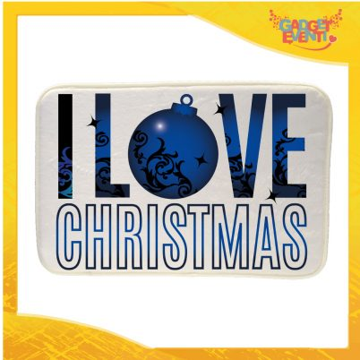 """Mouse Pad Rettangolare Natalizio Grafica Blu """"I Love Christmas"""" tappetino pc ufficio idea regalo festa di Natale gadget eventi"""