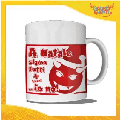 """Tazza Natalizia Personalizzata """"A Natale Siamo Tutti Più Buoni"""" grafica Rossa Mug Colazione Breakfast Idea Regalo Festività Natalizie Gadget Eventi"""