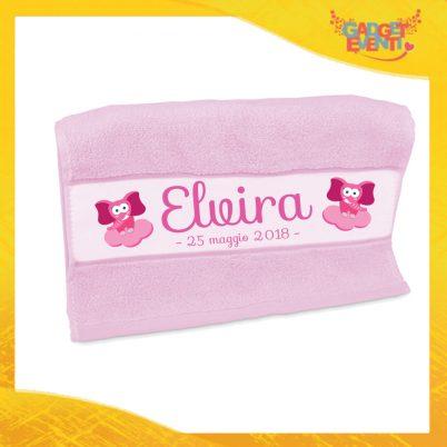 """Asciugamano Bimba Personalizzato Rosa """"Elefantino Con Nome e Data"""" Gadget Eventi"""